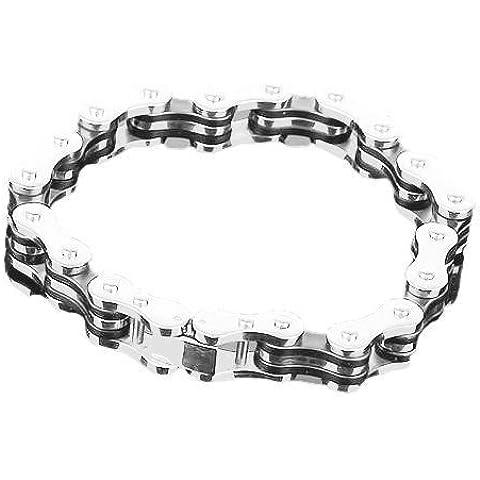 onlinegrocerystore (TM) 5x bracciale da uomo in acciaio inox stile catena di bicicletta W/Confezione Regalo FK