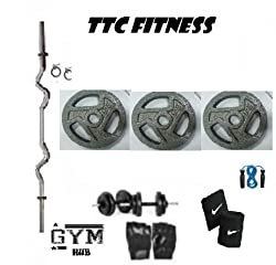 TTC FITNESS 20 KG CAST IRON HANDLE WEIGHT PACKAGE WITH 3 RODS