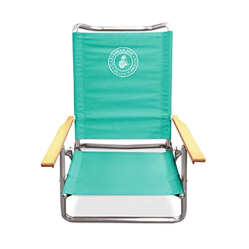 Caribbean Joe CJ-7740TEAL Five Position Folding Beach Chair with Wood arms, Teal (Chair Folding Arm)