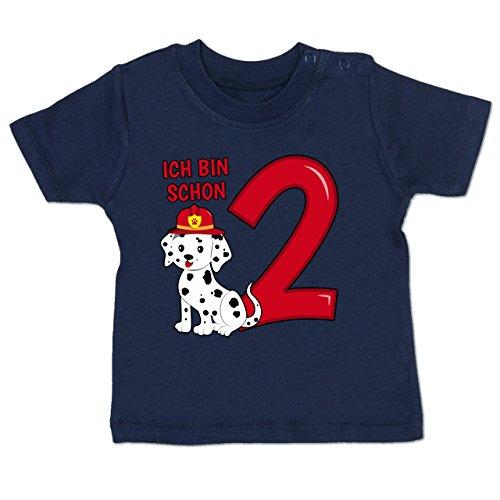 Geburtstag Baby - Ich Bin Schon 2 Feuerwehr Hund - 12-18 Monate - Navy Blau - BZ02 - Baby T-Shirt Kurzarm