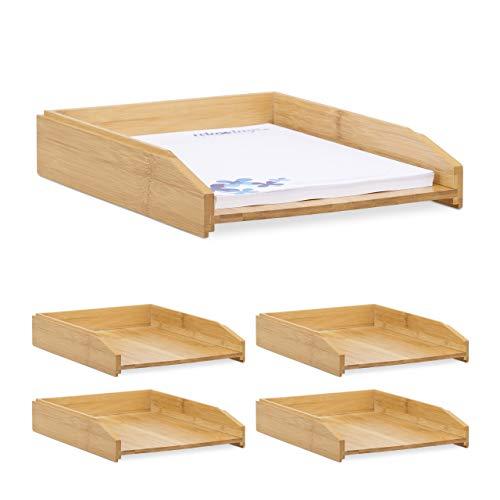 5 x Dokumentenablage, stapelbar, DIN A4 Papier, Büro, Schreibtisch, Briefablage aus Bambusholz, 6 x 25 x 33 cm, natur