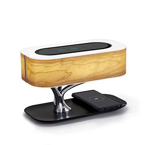 Masdio Nachttischlampe mit Bluetooth-Lautsprecher und Wireless-Ladegerät, Sleep-Modus stufenlos dimmen