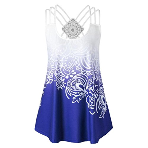 ZIYOU Schlinge Oberteile Tops Frauen, Mode Beiläufig Weste/Elegante Damen Sommer Rundhals T-Shirt Einfarbig Ärmellos Tanktops mit Bandagen (Blau-B, EU-38/CN-S)