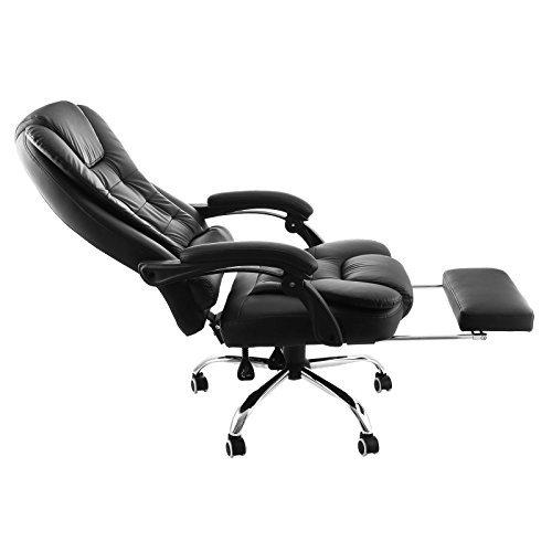 BuoQua A80 Bürostuhl Ergonomisch Schwarz Leder Chefsessel Einstallbar Bürodrehstuhl Mit Fußhocker Armlehne und Rollen