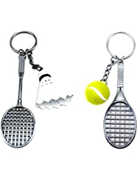 City Choice New Combo Of Tennis With Ball & Badminton Keychains