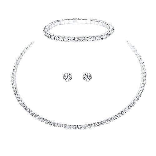 Mecresh da sposa 1/2/3/4/5ROW strass di cristallo per donne (1orecchini & collana & braccialetto) e placcato Argento, cod. 3TL002-1