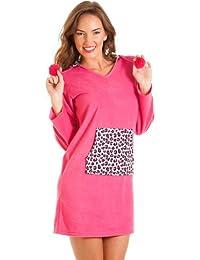 Chemise de nuit à capuche et poche kangourou - polaire - motif léopard - rose
