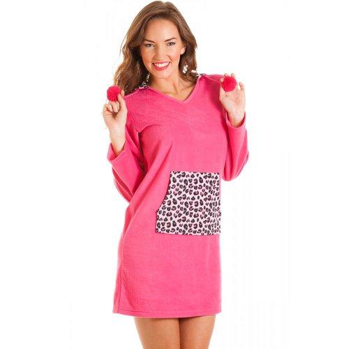 Camille - Damen Nachthemd aus Fleece mit Kapuze - Detail mit Leopard-Muster - Dunkles Pink 40/42 (Fleece Pink Leopard)