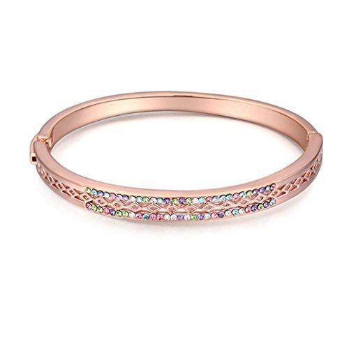 Beydodo Rose Gold Vergoldet Damen Armband (Armreif Armband),Österreich Kristall Hohl Rhombus Bunt CZ Zirconia (Kostüme Diy Löwen)