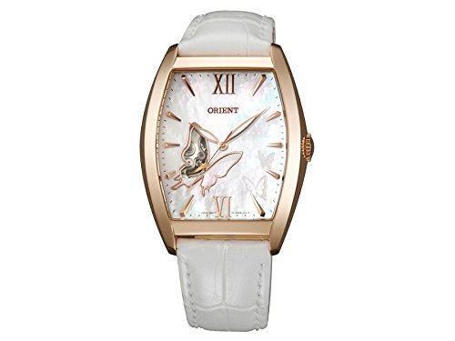 ORIENT WOMEN'S WHITE LEATHER BAND STEEL CASE AUTOMATIC ANALOG WATCH FDBAE002W