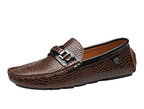 SK Studio Herren Leder Atmungsaktiv Mokassin Lässige Schuhe Mit Krokodil Textur Fahren Schuhe Freizeit Loafers Halbschuhe Khaki