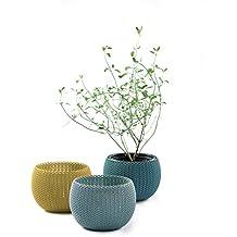 Keter vasi piante da interni/esterni realizzati a maglia, per giardino–colori assortiti, set di 3