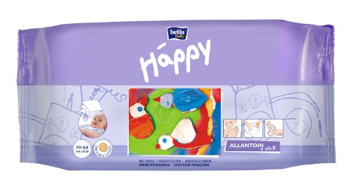 Bella Baby Happy Feuchttücher mit Allantoin & Vitamin E 64 Stück, 6er Pack (6 x 64 Stück)