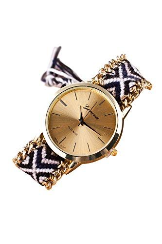 GENEVA Damen Geflochtene Kette Armbanduhr (Modell 11)