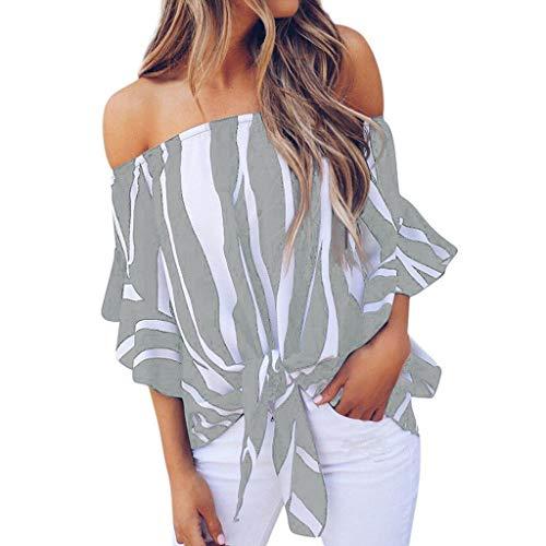 Sommer-T shirt für Damen,Dorical Frauen Schulterfrei Oberteil Elegant Streifen Bluse,Sommer Sexy Trägerlos Oversize Top T-Shirts,Damenkleidung S-4XL Ausverkauf(Grau,Small)