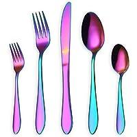 HOMQUEN Juego de cubiertos/cubiertos de colores, 30 piezas Juego de cucharas de acero inoxidable para 6 personas (arco iris, 6 juegos)