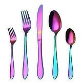 HOMQUEN 30-Teiliges Regenbogen-Farben-Tischbesteck, Edelstahl-Titan-Buntes überzogenes Geschirr-Set, Abendessen-Messer-Gabel-Teelöffel-Tafelsilber-Besteck-Set, Service für 6 (Bunt-30 Stück)