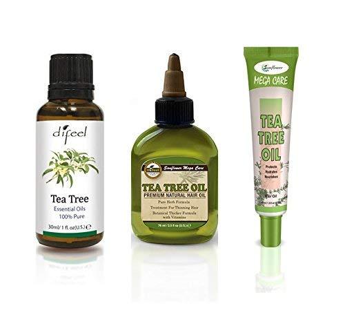 Difeel Hair & Essential Oil - Aceite de árbol de té 3 piezas Set - Evita picazón y cuero cabelludo seco, anticaspa y antihongos, para cabello delgado, piel irritada y grasosa