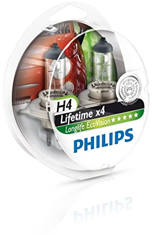 Philips 0730537LongLife EcoVision H4 12342LLECOS2 Headlight Bulb Kit with 2 Bulbs