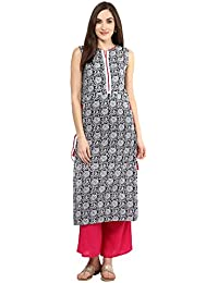 Jaipur Kurti Black Block Print Kurta With Rani Palazzo Set