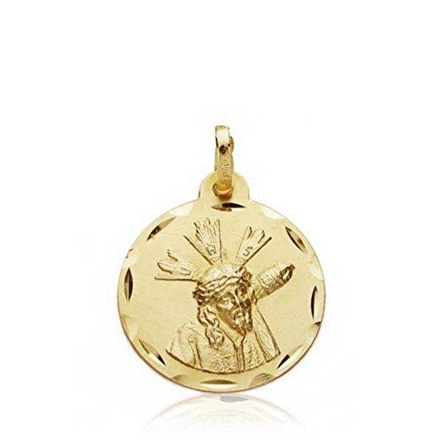 Medalla Escapulario Oro 18K Gran Poder Virgen Macarena 18mm. [Aa2504]