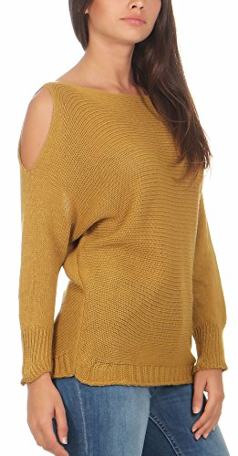 malito Damen Pullover cold-shoulder Design | Longsleeve im Grobstrick Look | Strickpullover