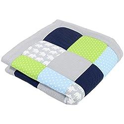 ULLENBOOM ® Tapis d'Éveil et Matelas pour Parc Bébé Éléphant Vert Bleu (100x100 cm Tapis sol bébé patchwork, Motifs éléphants et pois)