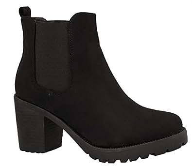 Elara Ankle Boots | Trendig Bequeme Damen Stiefeletten | Plateau Blockabsatz KA523-1SL-A-Schwarz-36