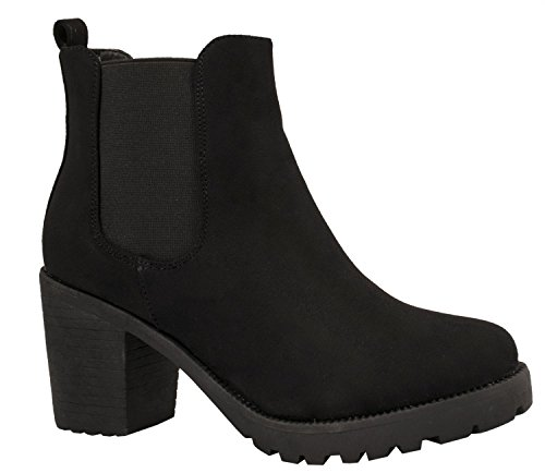 Elara Damen Chelsea Stiefel | Bequeme Stiefelette Profilsohle | Plateau Chelsea Boots | Gef眉ttert Schwarz Queen