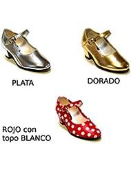 Zapato andaluza plata oro rojo topo blanco - Plata claro, Talla 20