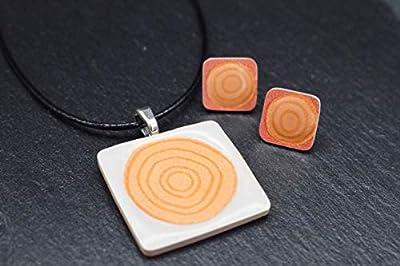 Bijoux-céramique-designer-ensemble femmes collier avec pendentif boucles d'oreilles en blanc orange spirale lé fait main bijoux-femme-fantaisie