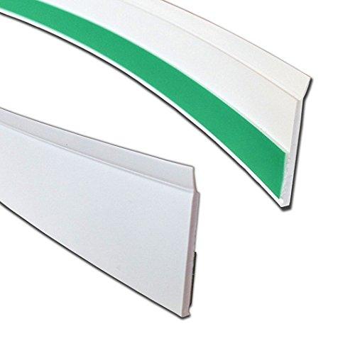 BawiTec Kunststoff Flachleiste mit Lippe Abdeckleiste weiß selbstklebend Abdeckprofile (40mm)