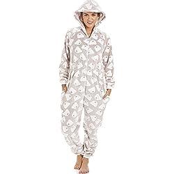 Camille - Pijama de una pieza con capucha - Forro polar supersuave - Estampado de ositos - Color visón 46/48