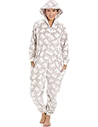 Schlafanzug-Overall mit Kaupuze - weicher Fleece - Grau mit weißem Bärenmuster