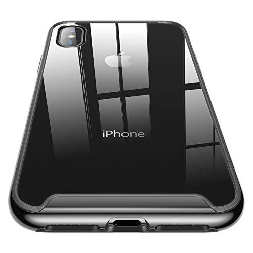 RANVOO Doppelter Schutz Transparent PC Rückwand & Schwarze TPU Rahmen mit Chromüberzug Hydrid Fallschutz Kratzfest Durchsichtig Handyhülle Schutzhülle für iPhone XS Max, 6,5 Zoll, Klar + Schwarz