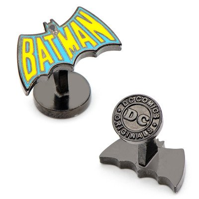 Official DC Comics Batman Retro Logo versilbert Manschettenknöpfe - Boxed