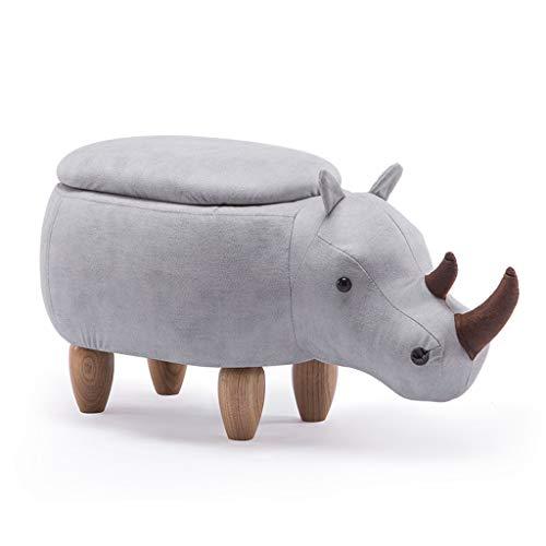CKH Cartoon Kreative Nette Rhinoceros Lagerung Lagerung Fußbank Massivholz Schuhe Bank Sofa Ottoman Hall Hocker Test Schuhe Bank Weiß (Blut-zähler)