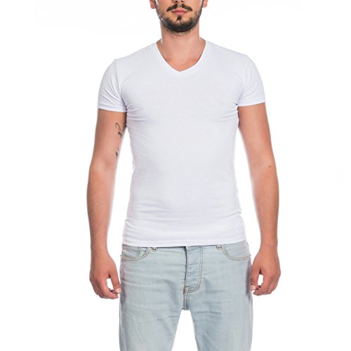 SKUTARI Herren T-Shirt Basic V-neck Slim Fit , Einfarbig Weiß