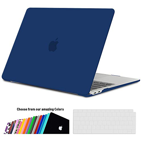 iNeseon MacBook Air 13 Hülle Case 2018, Ultradünne Hartschale Cover Schutzhülle + Tastaturschutz Apple MacBook Air 13.3 Zoll mit Retina Bildschirm Touch ID Modell A1932, Navy blau