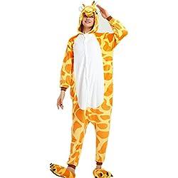 VineCrown Disfraces Pijama Animales Adultos Traje Disfraz Ropa de dormir Novedad Pijamas de una pieza Cosplay Carnaval Halloween Navidad Festival Homewear (L for 168CM-177CM, Jirafa)