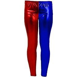 Islander Fashions Girls Metallic Red Blue Discoteca Leggings Childrens Shiny Fancy Dress Pantalones de Cosplay Rojo/Azul 11-12 A�os