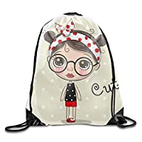 HouyunCC Cute Cartoon Girl Drawstring Backpack Bags polyester fabric Folding Shoulder Cinch Bag
