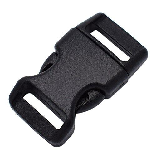 15mm Kunststoff Schnallen Gebogene Seite Release Schnallen für Paracord Armbänder Schwarz 5/20,3cm Schließe, schwarz, 10er-Pack -