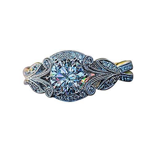 UINGKID Schmuck Damen Ring Mode Elegant Vintage Strass Blätter Blume ()