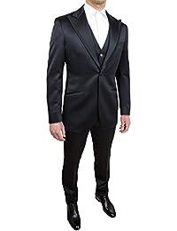 Abito completo uomo Lubiam nero elegante con gilet in coordinato taglia 48 091d3e48697