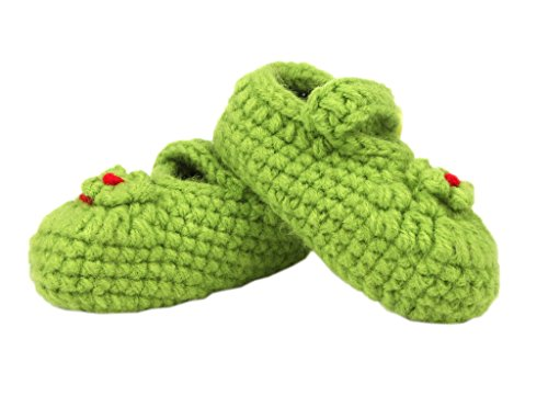Bigood 1 Paar Strick Schuh Baby Unisex Strickschuh One Size süße Muster 11cm Herz Deko Grün GrünY