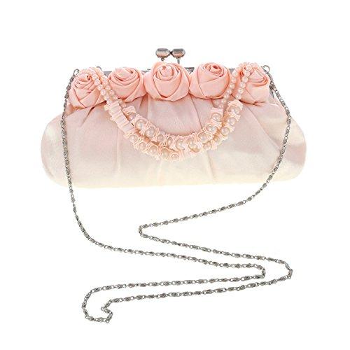 Damara® Satin Damen Blumen-Dekor Clip Abendtaschen Bankett Clutch Weiß