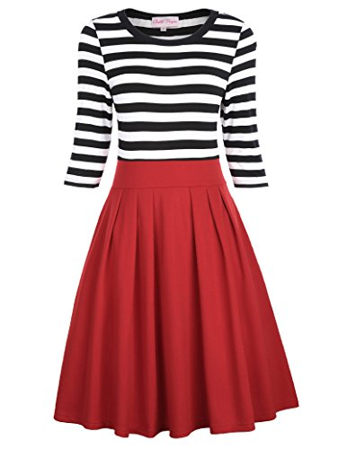 Belle Poque Robe Vintage Rockabilly Années 50 Pin Up Col Ras du Cou Rouge-M