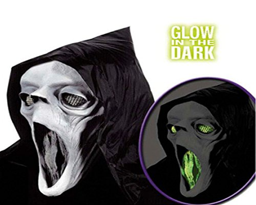 Scream Halloween Maske (Glow in the Dark) mit leutenen Augen Geist Maske mit Haube aus Latex (Scream In Glow Dark Maske The)