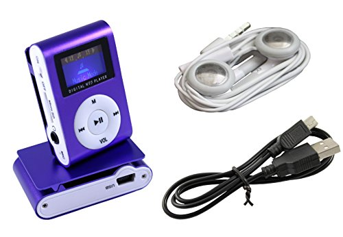 IPRIME® Mini MP3 Player mit LCD bis 32 GB ohne Micro SD Karte mit Kopfhörer, eingebautem Akku und Befestigungsclip - Violett Lila (Lila-mp3-player 32 Gb)